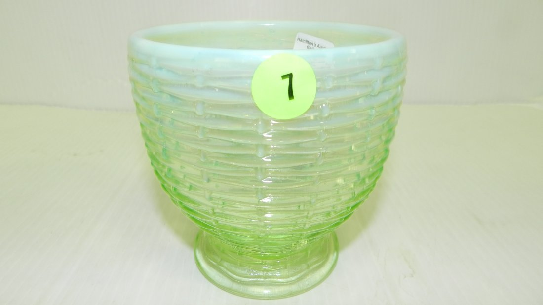 Vintage Opalescent green glass vase, COND VG