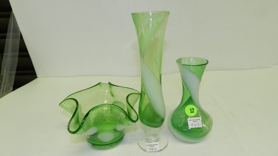 3 piece green and white glass vases, COND VG