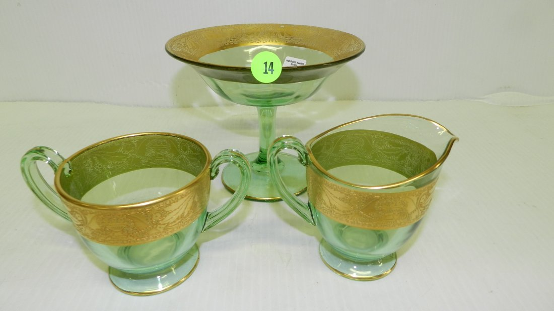 3 piece green and gold creamer, sugar & compote. COND