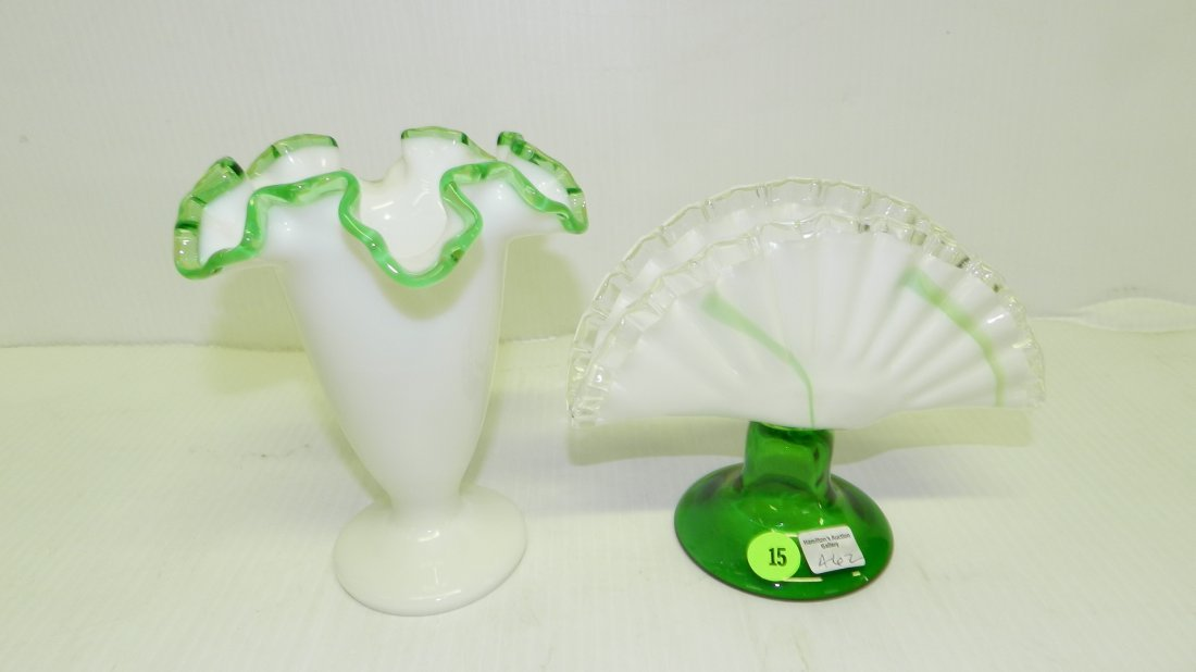 2 piece green and white vases