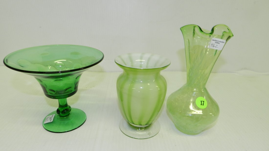 3 piece green glass vases, COND VG
