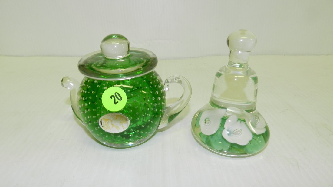 2 piece art glass paperweights, COND VG