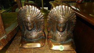 2 piece bronze Indian head book ends