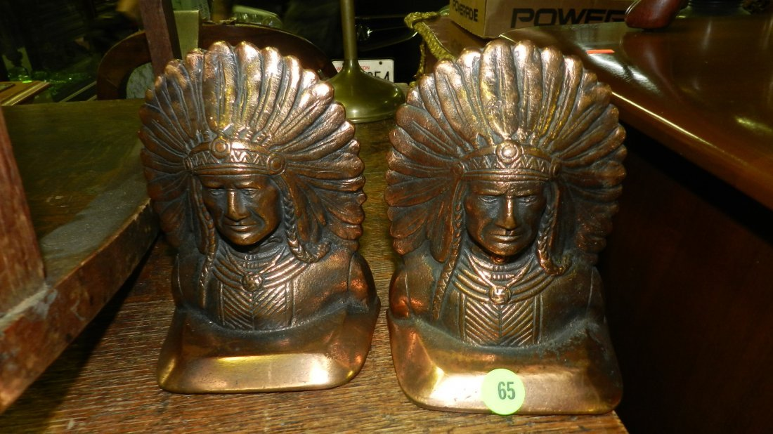 2 piece bronze Indian head book ends