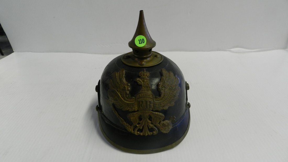 Imperial German Fireman Officers Spiked Helmet
