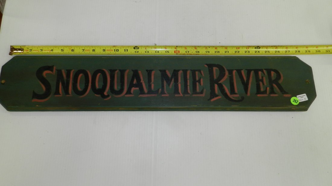 hand painted advertising sign for Snoqualmie River,