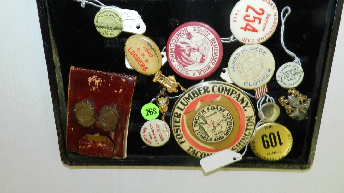 collection of local Tacoma WA buttons / pins no tray