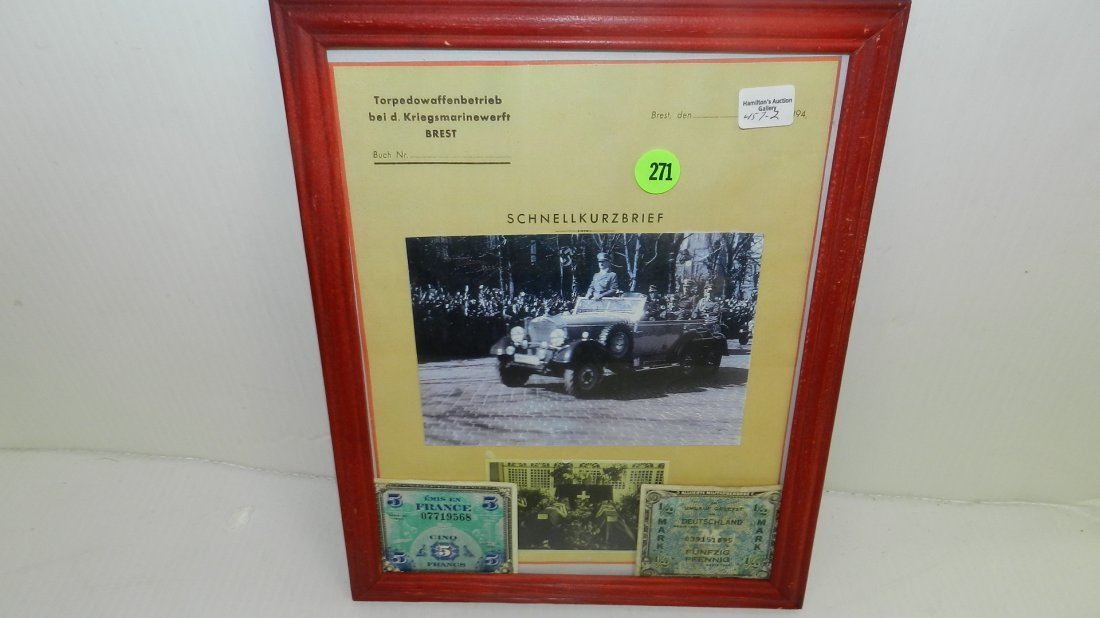 framed photo / print of WWII Adolf Hitler in car, with