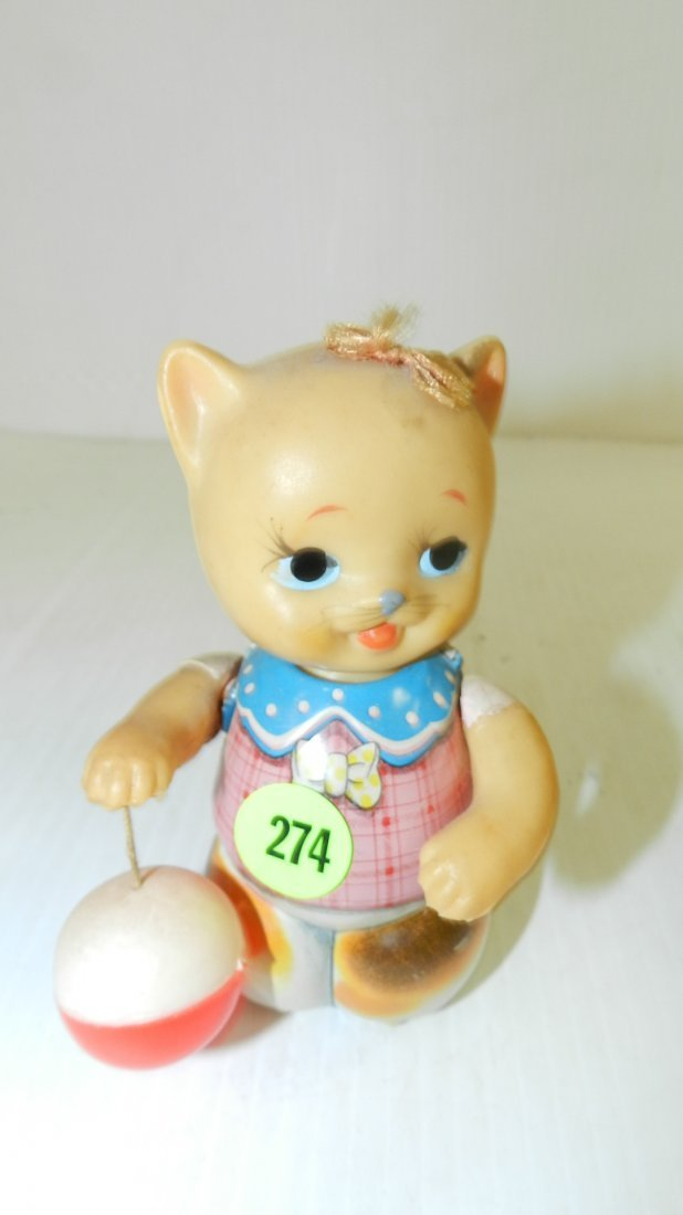vintage toy wind up cat with ball