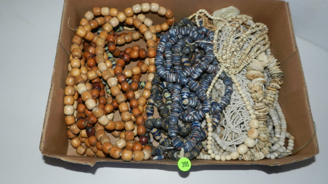 nice selection of African trade bead necklaces (box