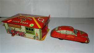 Vintage Marx Tin Litho Toy Fire House  Chief Friction