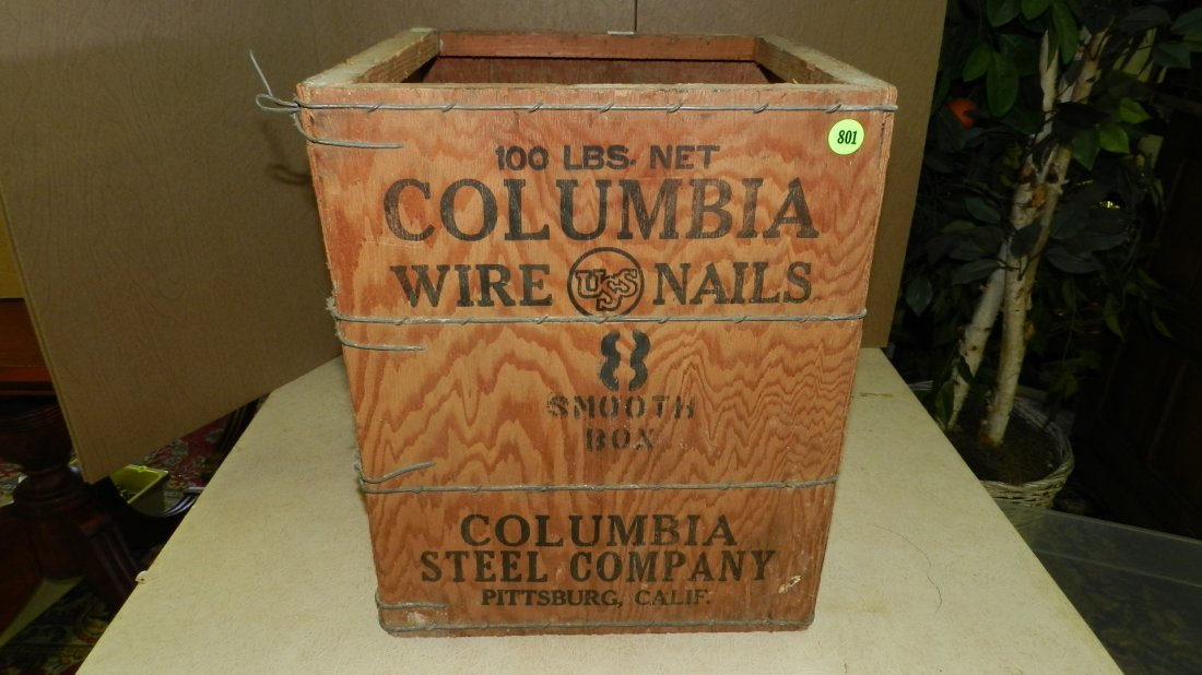 25) Primitive wooden advertising crate for Columbia