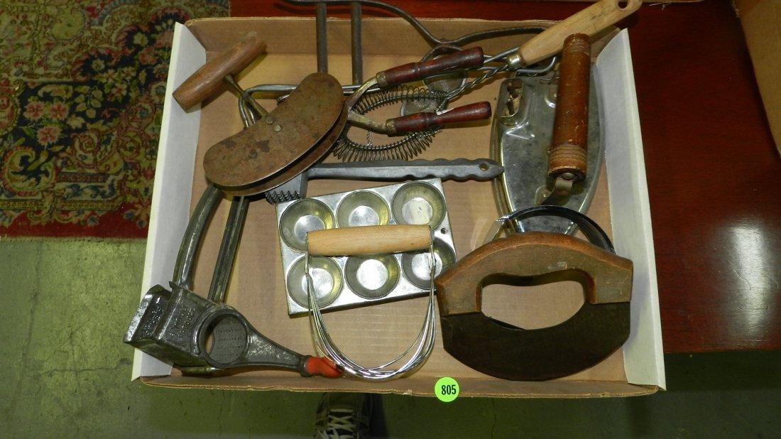 box with Primitive kitchen items etc...