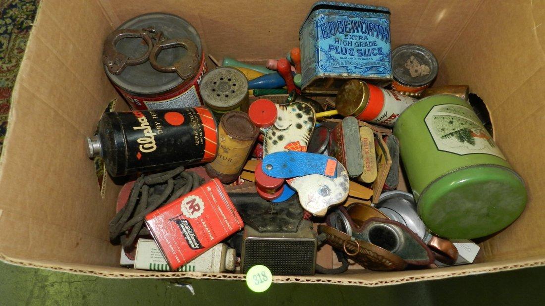 large box of Primitive items. tins, toys etc,