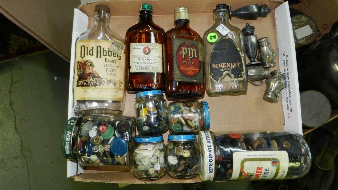 box of Primitive advertising bottles, buttons etc