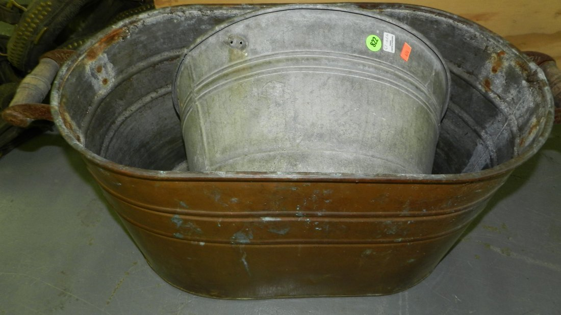 2 piece copper boiler and wash tub
