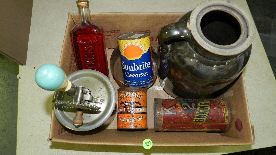 box of Primitive items including, bottles, tins etc