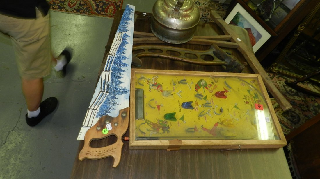 group of Primitive items, painted saw, brass holder etc