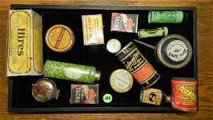 box of Primitive items including, advertising tins no