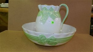 55) Lovely porcelain pitcher and bowl with ribbon