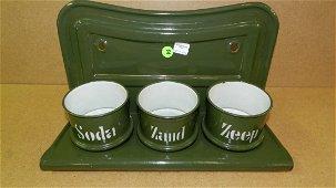 65) Primitive Euro granite ware kitchen set with cups