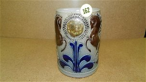 antique painted German stein with horse scene, cond VG