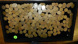 box of U.S. Wheat back pennies, penny various dates and