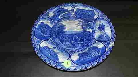 6) Blue and white souvenir plate of Portland,