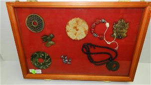 26) collection of various Asian Jade, Stone and agate