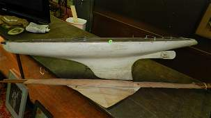 amazing antique large handmade Pond Model Sailboat Boat
