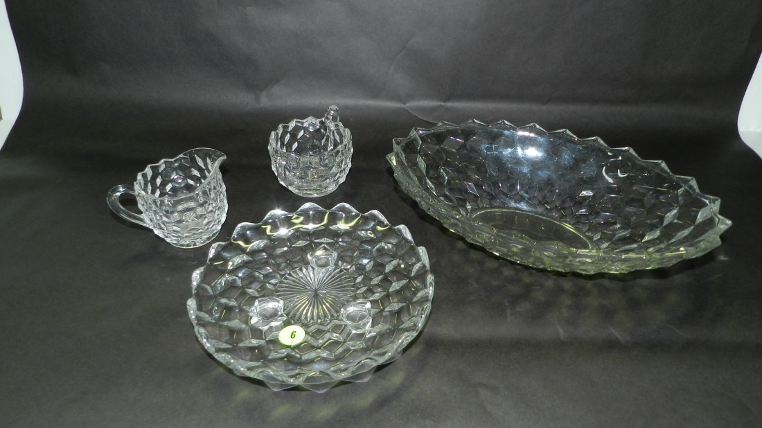 4 piece American Fostoria glassware, oval bowl, footed