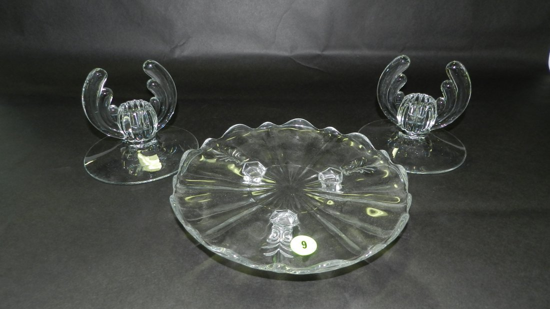 3 piece Crystal candlestick holders and baroque footed