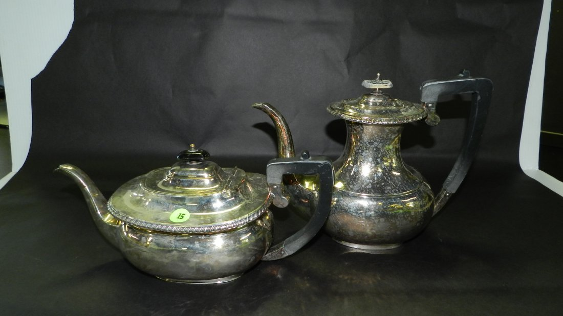 2 piece Silver plated tea and coffee pot. COND VG