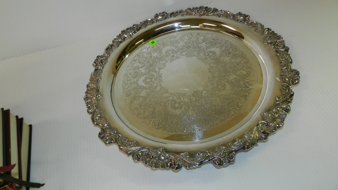 Fancy silver plated serving tray