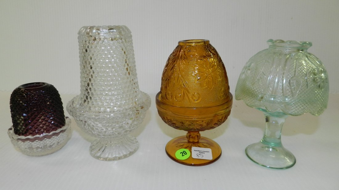 Lovely 4 piece fairy lamps, Fenton & others COND VG
