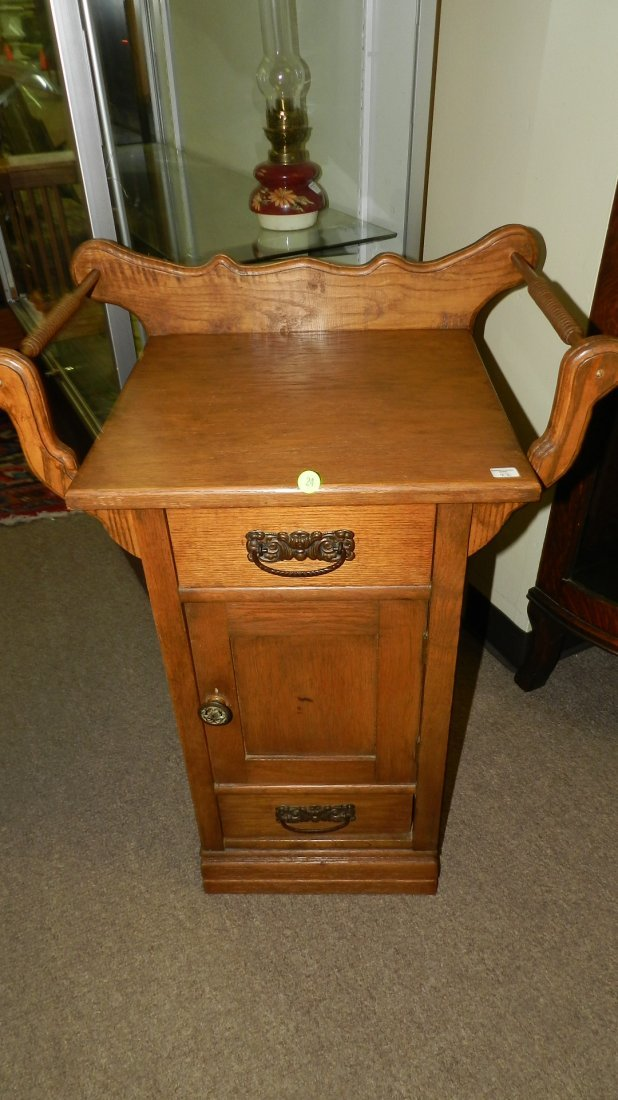 Unique antique American oak wash stand with towel bar,