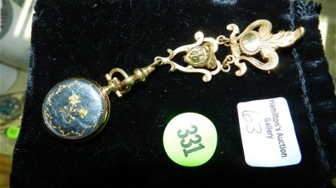 Lovely Victorian ladies lapel watch, gold plated, Areo