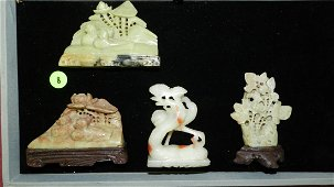 4 piece Asian soapstone carved small displays, floral