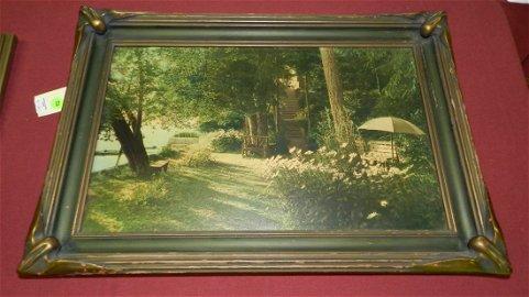 30) amazing antique bat wing framed hand tinted photo,