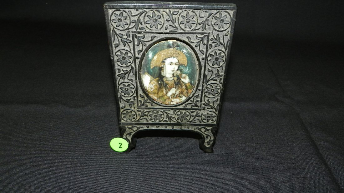 Antique carved Asian standing picture frame with