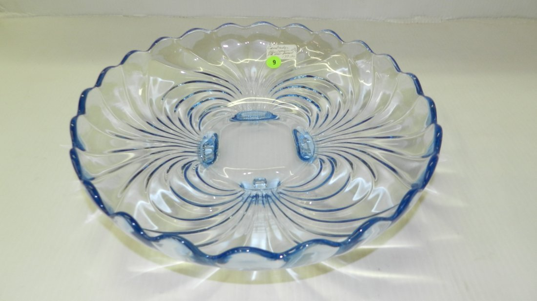 Elegant Cambridge blue caprice footed bowl. COND VG