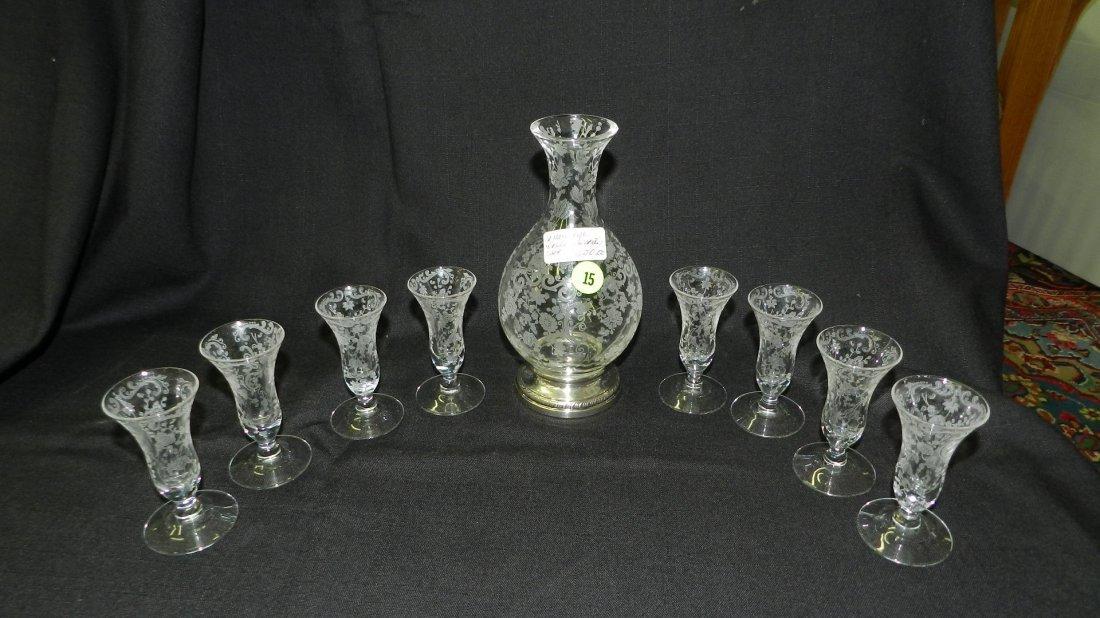 Rare, beautiful, 9 piece Cambridge Chantilly decanter