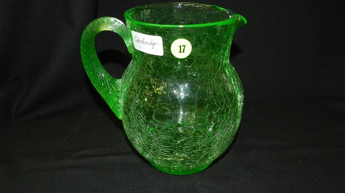 Nice Green Cambridge, crackle glass pattern, pitcher.