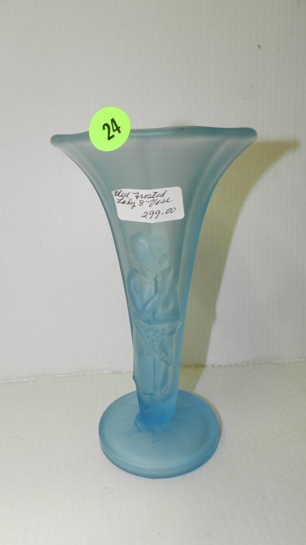 Elegant, art deco blue frosted glass, Oriental lady