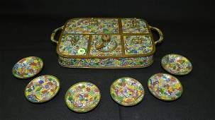 Antique Chinese Cloisonne Enameled Bronze Opium Set