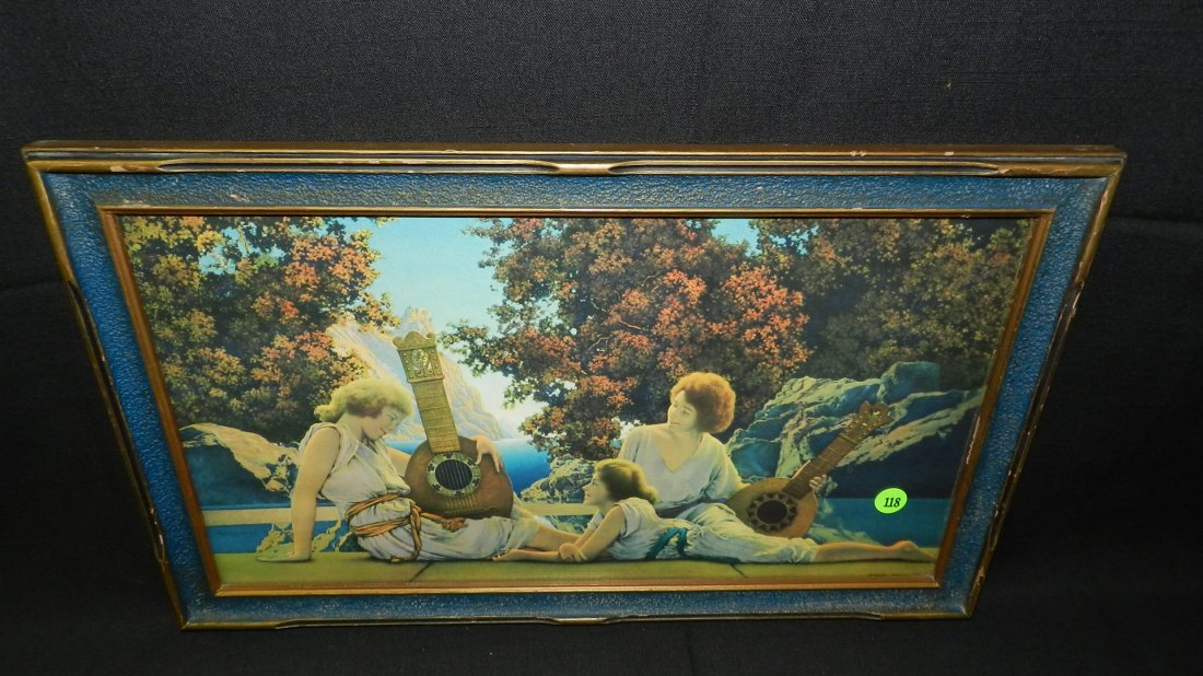 """Original Maxfield Parrish framed print titled """"The Lute"""
