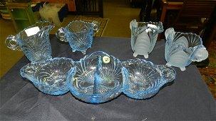 group of vintage Cambridge Caprice blue glassware, dish