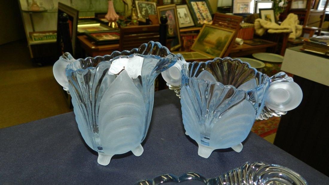 group of vintage Cambridge Caprice blue glassware, dish - 2