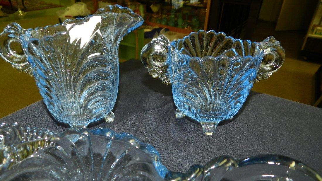 group of vintage Cambridge Caprice blue glassware, dish - 3
