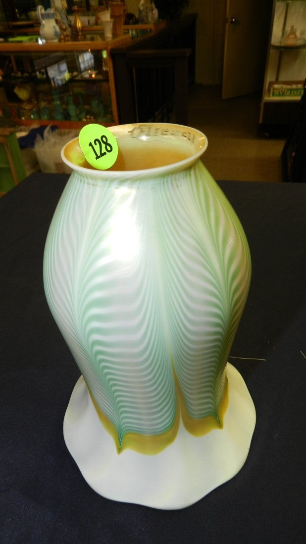 21) large 7 inch tall Quezal pulled feather art glass